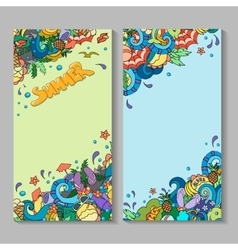 Banner templates set with doodles summer vector