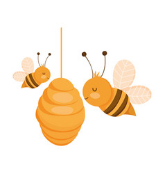 Bees in hive farm animal isolated icon on vector