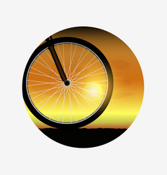 Bicycle wheel at sunset silhouette of bike vector
