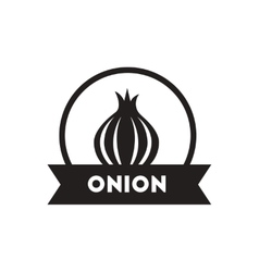 Black icon on white background onion emblem vector
