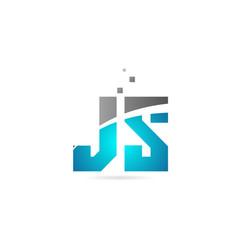 Blue grey alphabet letter combination js j s vector
