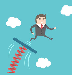 businessman jumping from springboard vector image