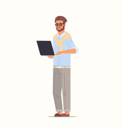 Businessman using laptop business man working on vector