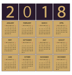 calendar 2018 year week starts with sunday vector image