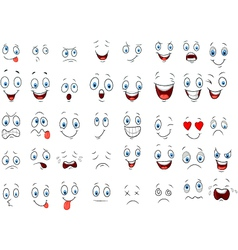 Cartoon of various face expressions vector