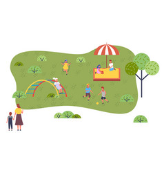 children play in playground girl jumps boys vector image