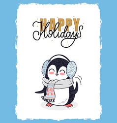 christmas happy holidays postcard with penguin vector image