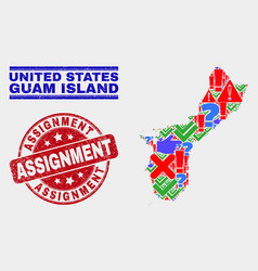 Collage guam island map sign mosaic and vector