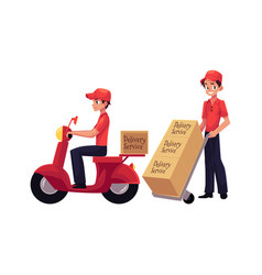 Courier delivery service worker holding package vector