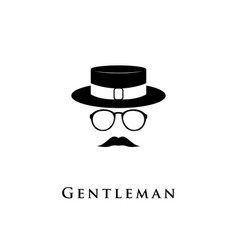creative logo gentleman with a mustache hat and g vector image