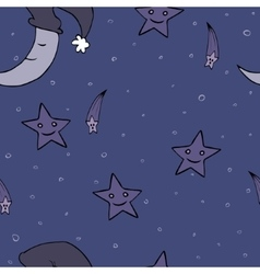 Doodle seamless night pattern background vector image