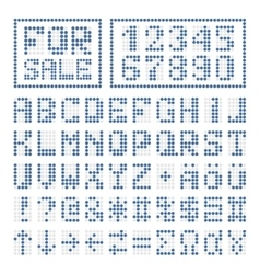 Dotted font alphabet digital letters and numbers vector