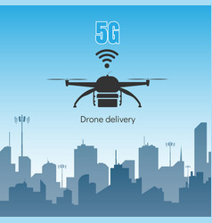 drone delivery with 5g internet high speed concept vector image