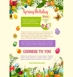 easter spring holidays celebration poster template vector image