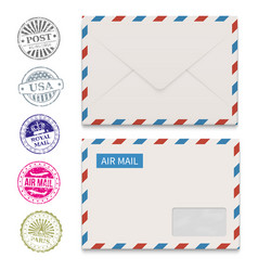 Envelopes and grunge post stamps isolated on white vector