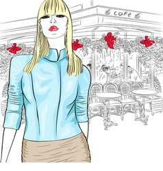 fashion girl in the Parisian cafe vector image