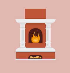fireplace with flame isolated on background vector image