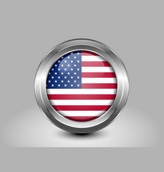 Flag of United States of America Glass Round Icon vector