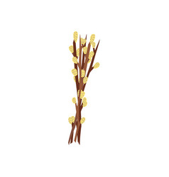 Flat easter willow twigs bouquet icon vector