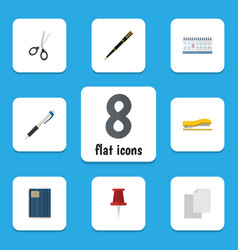 Flat icon tool set of nib pen pencil copybook vector