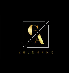 Ga golden letter logo with cutted and intersected vector
