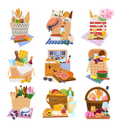 gift or picnic holiday baskets on tablecloth vector image