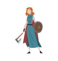 girl viking with battle axe and shield medieval vector image