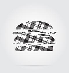 grayscale tartan isolated icon - hamburger vector image