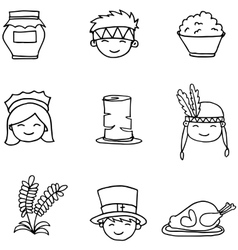 Hand draw doodle thanksgiving set vector image