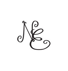 Handwritten monogram ne icon vector