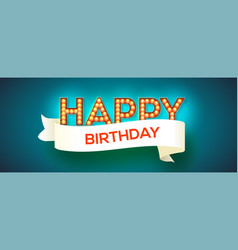 happy birthday card design retro fonts with vector image