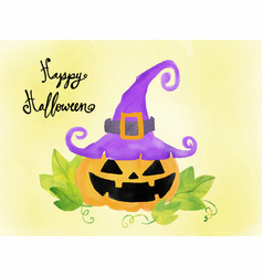 happy halloween card watercolour elements pumpkin vector image