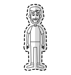 Happy handsome bearded man cartoon icon image vector