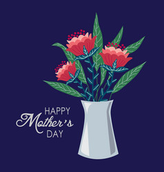 happy mothers day vase with flowers hand draw vector image