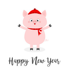 happy new year pig wearing red hat scarf vector image