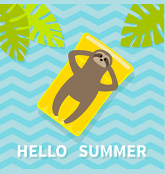 hello summer sloth floating on yellow air pool vector image