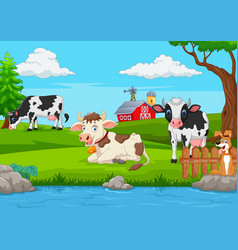 herd of cows at summer green field vector image