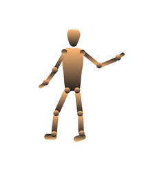 Hinged doll puppet faceless figure vector