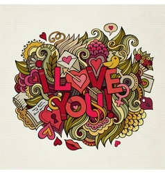 I Love You hand lettering and doodles elements vector image