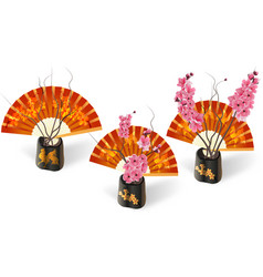 ikebana three sakura on a background of fans with vector image
