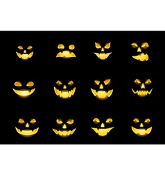 Jack o lantern faces vector
