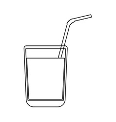 juice glass with drinking straw black color path vector image