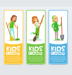 Kids land banners set girls helping in organic vector