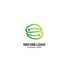Letter initial s for leaf and nature logo design vector