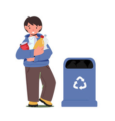 Little boy collect trash holding plastic packs vector
