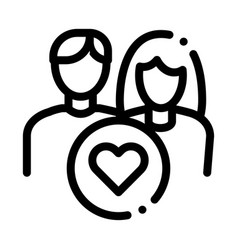 man and girl and heart icon outline vector image