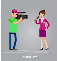 Mass media design concept set with journalists vector image