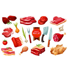Meat and poultry with cutlery vegetables vector