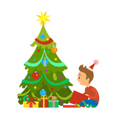 merry christmas boy unpacking gifts new year tree vector image