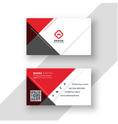 minimal red business card template design vector image
